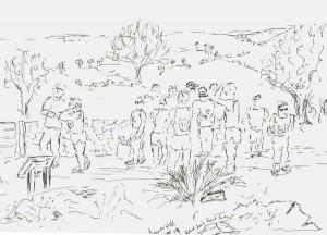 running pencil sketch