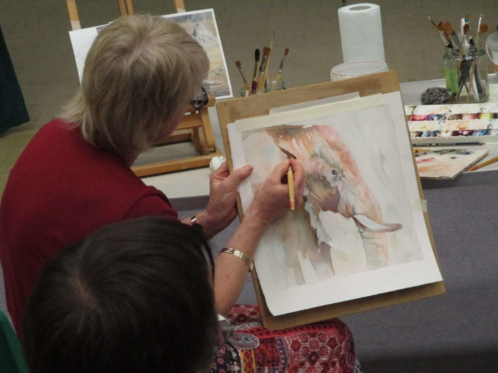 Sue Chatterton painting big game watercolour